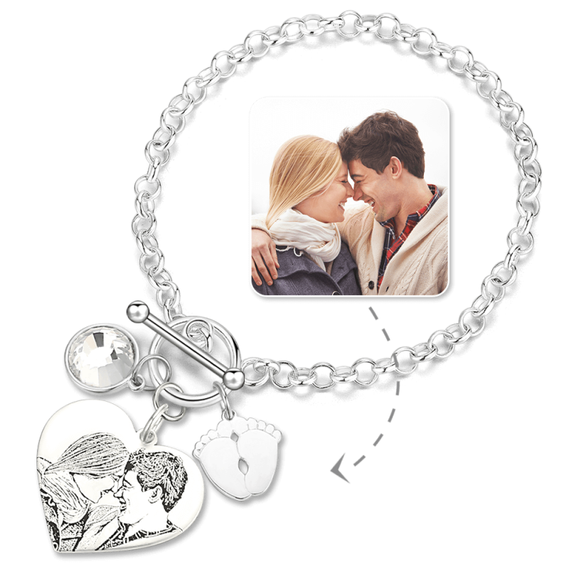 Photo Engraved Tag Bracelet With Engraving