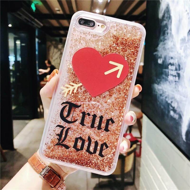 iPhone Xs Quicksand Heart With Love Phone Case