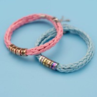 Unsex Personalized Bead Strap Bracelet With 1-10 Names In 6 Colors