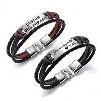 Personalized Engraved Leather Bar Bracelet