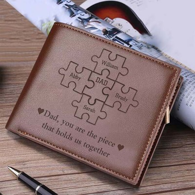 Personalized Dad You Are the Piece That Holds Us Together Puzzle Pieces Leather Trifold Wallet