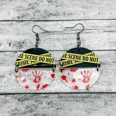Halloween Crime Scene Spooky Scary Earrings Gift For Her