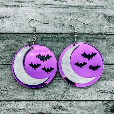 Halloween Spooky Moon Bats Earrings Gift For Her