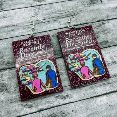 Halloween Beetlejuice Earrings Handbook for the Recently Deceased Gift For Her