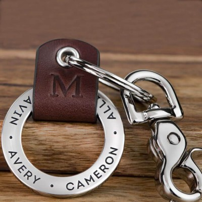 Father's Day Gift Personalized Dad Initial Kids Names Key Chain