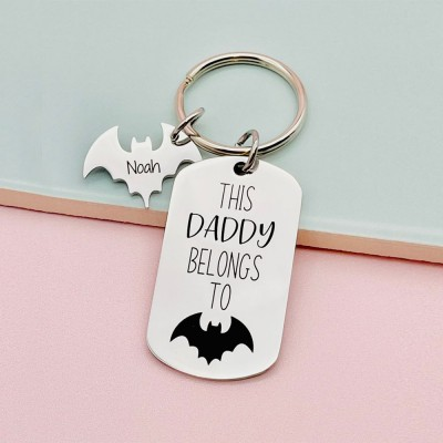 Personalized This Daddy Belongs to Keychain with 1-10 Bat Tags Father's Day Gift