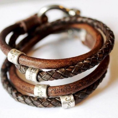 Personalised Bracelet leather Wrap With 1-10 Beads