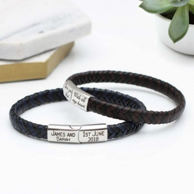 Personalised Contrast Leather Bracelet