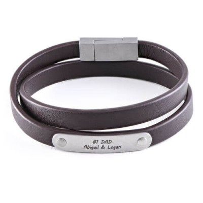 Brown Leather Bracelet with Engraved Bar