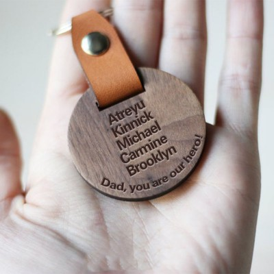 Personalized Daddy's Wood Key Chain with 1-10 Engraving Names Gift For Father's Day