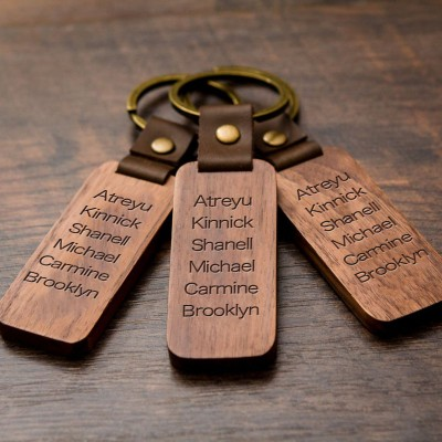 Personalized 1-10 Engraving Names Wood Key Chain Gift For Father's Day