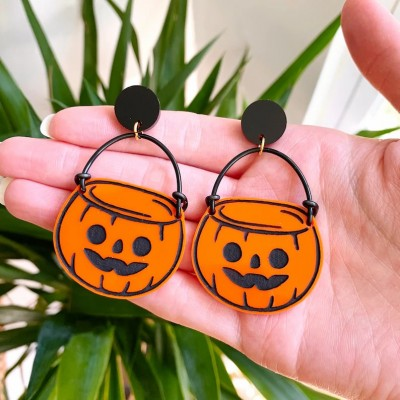 Halloween Pumpkin Candy Bucket Earrings Gift For Her