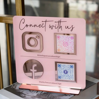 Personalized Instagram Facebook QR Code Sign Business Social Media Sign