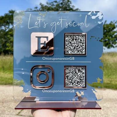 Personalized Double QR Code Business Social Media Sign