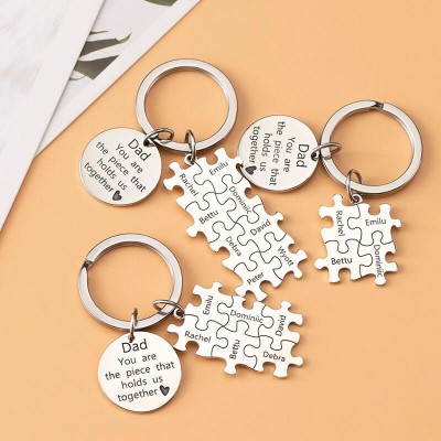 Father's Day Gift Personalized Dad Puzzle Keychain with 1-16 Engraving Names