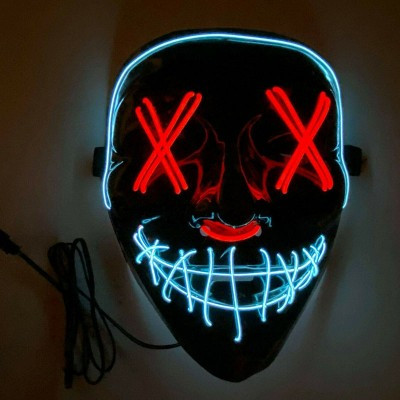 LED Halloween Mask Purge EL Wire 2 COLOR Glow Light up Mask Red/White