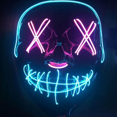LED Halloween Mask Purge EL Wire 2 COLOR For Halloween Christmas Costumes Cosplay Party