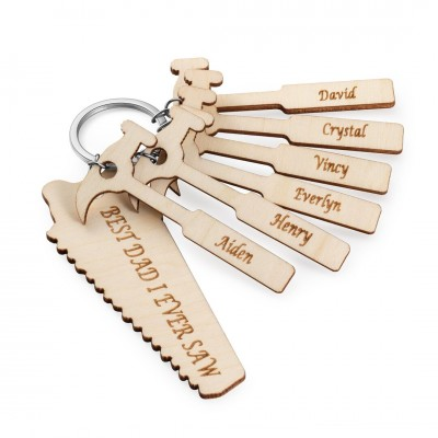 Personalized Dad Keychain Tools Wood Keychain with 1-10 Family Names Father's Day Gift