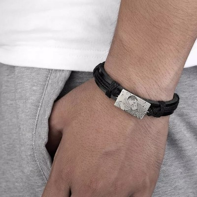Men's Rectangle Photo Engraved Tag Bracelet Black Leather Bracelet