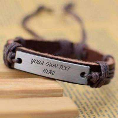 Personalized Leather Bracelet With Engraving