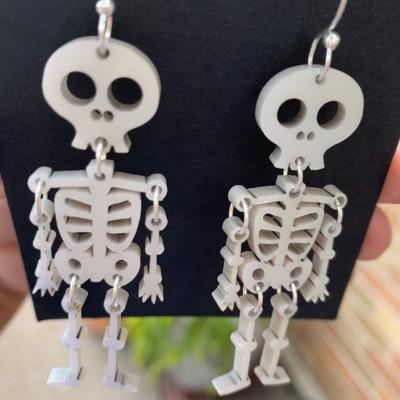 Halloween Skeleton Iridescent White Acrylic Earrings Gift For Her