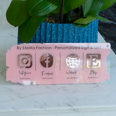 Personalized Large Wall Mounted Business Social Media Sign