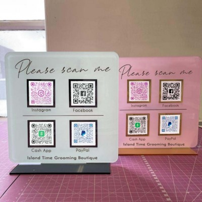 Personalized 4 QR Code Sign Business Payment & Social Media Sign