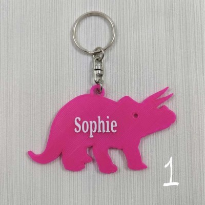 Personalised Dinosaur Keychain Children's Gift