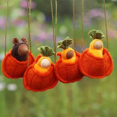 Halloween Baby Doll Mouse in a Pumpkin Necklace Gift For Kids