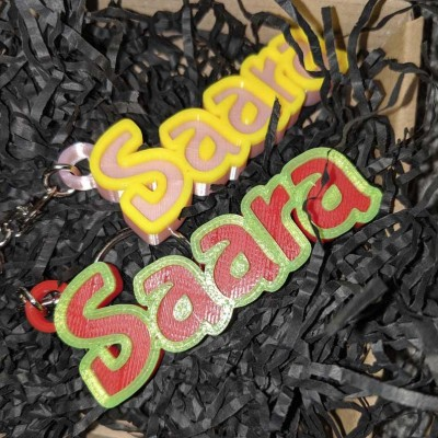 Two-Color Personalized Name Keychain Children's Bag Tag Keychain