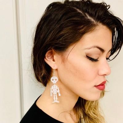 Halloween Wiggling Skeleton Acrylic Earrings Gift For Her