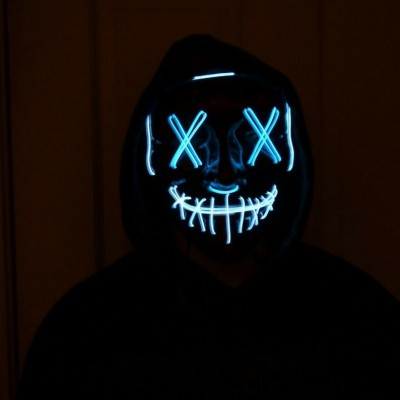 Read the full titleLight up face mask LED Purge 2 color for Halloween - Blue / White